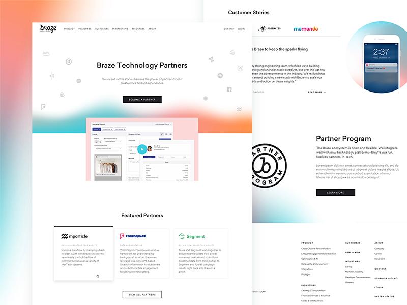 Braze Partnerships badge gradient web ui landing page site focus lab