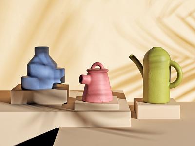 Ceramics + Shadows stilllife cgi 3d render illustration focus lab