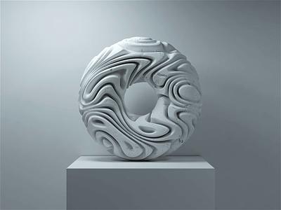 🌊🍩 animation sculpture marble donut modeling render 3d focus lab