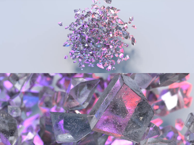 Crystal Cluster cloud crystal glass video redshift octanerender cinema 4d maxon animation render 3d illustration focus lab