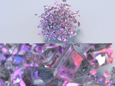 Crystal Cluster cloud crystal glass video redshift octanerender cinema 4d maxon animation render 3d illustration focus lab