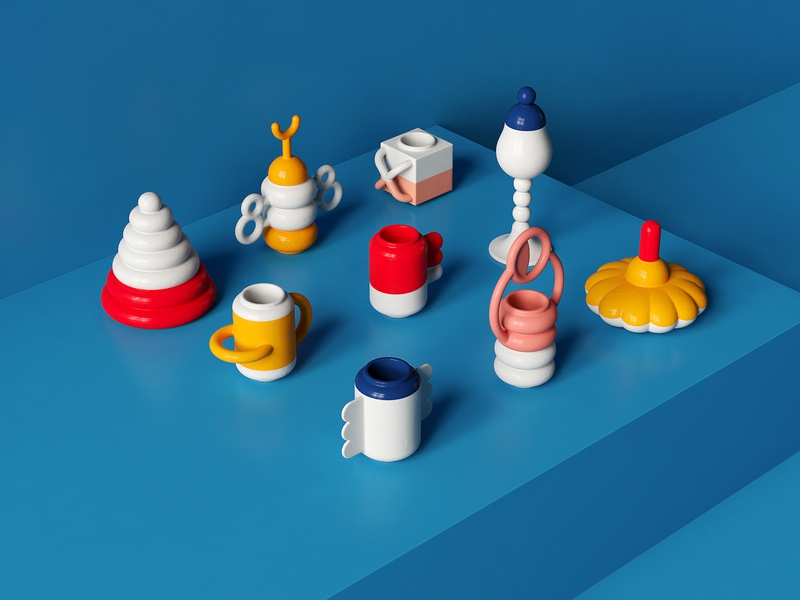 Ceramics stilllife glaze physical pottery ceramic cinema4d maxon c4d render illustration 3d