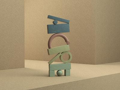 Primitive Letterforms stilllife cork octane maxon cinema 4d c4d branding render typography logo 3d illustration focus lab