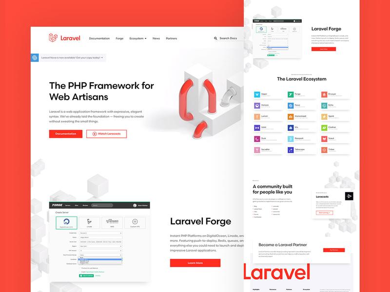 Laravel Website branding illustration ui 3d website focus lab