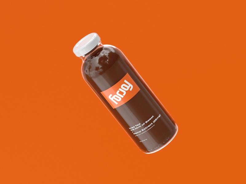 For Joy Tea Bottle Render redshift cinema4d c4d render 3d logo typography illustration branding focus lab