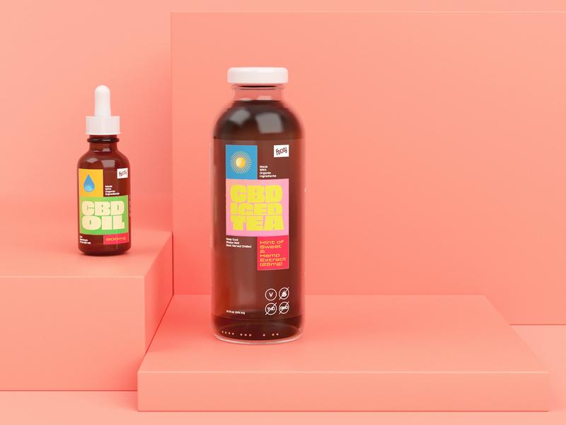 Packaging Renders label glass redshift cinema4d c4d bottle cbd packaging branding render 3d focus lab