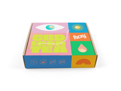 What's in the box? mockup icon logo type eye drop rainbow cbd box packaging focus lab branding