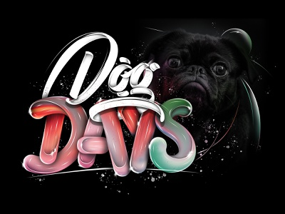 Dog days (Tutorial Video) shadows highlights abstract splash typography type photoshop logo lettering inspiration font black color calligraphy dog branding angeloknf adobe 3d text 3d