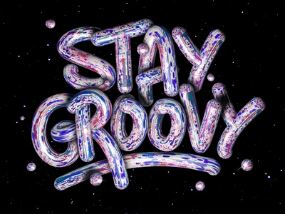 Stay groovy design inspiration angeloknf procreate photoshop illustrator cinema4d logo type 3d artist 3d art 3d typography lettering