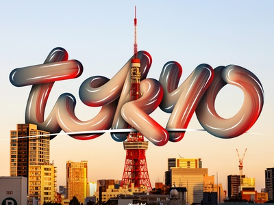 Tokyo lettering - video link in description mixer brush 3d text japan tokyo photoshop font angeloknf inspiration hand-lettering brush logo calligraphy type typography lettering