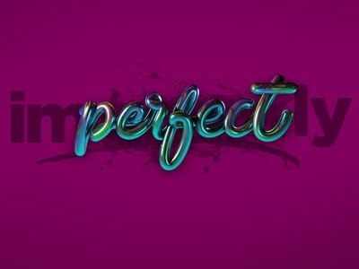 Imperfectly perfect - Video link in description 3d typography 3d type 3d lettering 3d design purple pink c4d cinema4d design photoshop angeloknf inspiration brush logo calligraphy type typography lettering
