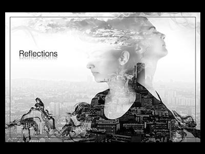 Reflections paris woman clouds city photo retouch double exposure black and white cityscape black bnw