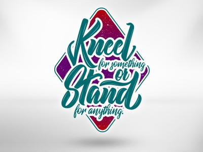 Kneel or Stand lettering typography type shape script positive lettering hand-lettering font color calligraphy brush