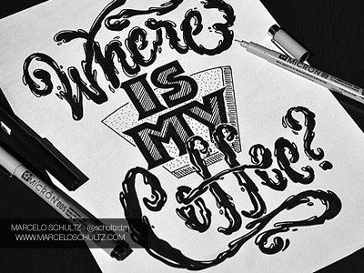 FRIDAY YOU BASTARD! Where is my Coffee ? coffee typography lettering illustration pen drawing friday tgif