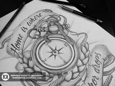 Tattoo - Home is where the anchor drops! tattoo design illustration drawing sketch sketchbook texture anchor compass