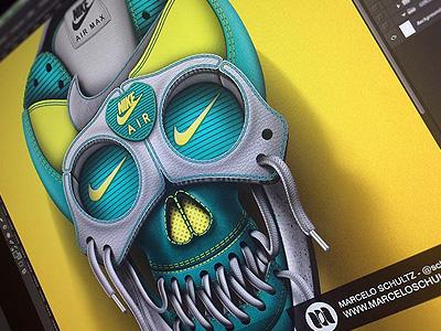 Nike Skull nike skull leather sneakers shoes texture illustration logo swoosh shoelaces photoshop not3d