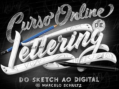 Curso Online de Lettering - Do Sketch ao Digital class drawing sketch design vector 3d photoshop typography art online lettering curso