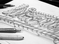 Fake 3D lettering sketch