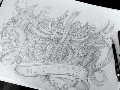 Harley Davidson illustration. harley davidson type typography design motorcycles chain chains leather sketch schultz