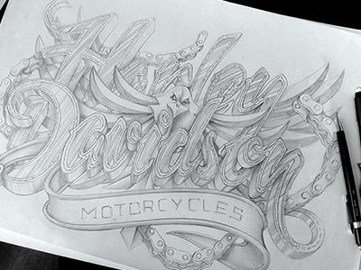 Harley Davidson illustration. harley davidson type typography design motorcycles chain chains leather sketch schultz