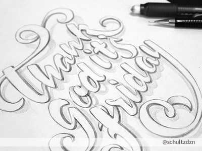 Thank God It's Friday ! typography callygraphy design type friday pen pencil sketch illustration font