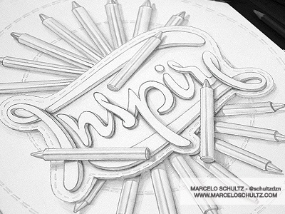 Inspire typography type design illustration lettering pencils drawing sketch sketchbook