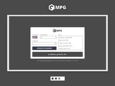 MPG - Memorable Password Generator passwords user interface ui design brazil webdesign website password