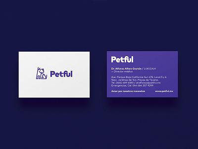 Business card for Petful branding logo pets vet dog card business
