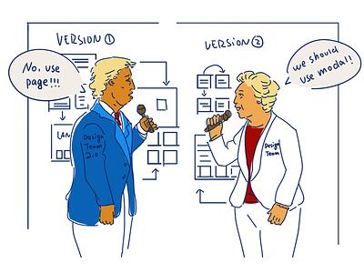 Debate between designers debate illustration