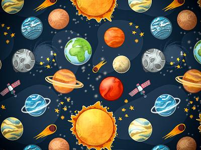 Know Your Solar System solarsystem galaxy planets pattern design pattern design illustration