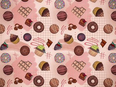 Chocolate Dreams bakery sweets procreate illustrator illustration chocolate branding pattern design pattern