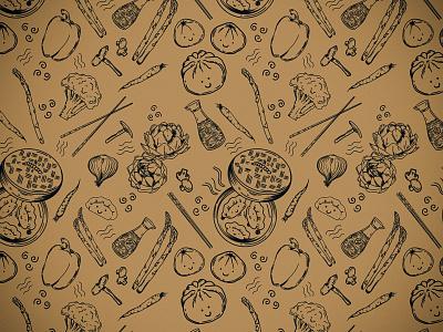 Buns and Dumplings asian food asianfood procreate illustrator repeating pattern seamless pattern bakery pattern design pattern illustration baobun dumplings
