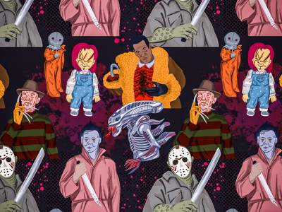 Horror Movies repeating pattern seamless pattern horror movies illustrator design pattern procreate pattern design illustration