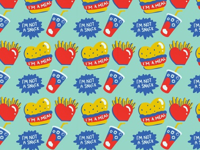 Meal Deal food illustration repeating pattern seamless pattern pattern design pattern food app branding procreate illustrator illustration
