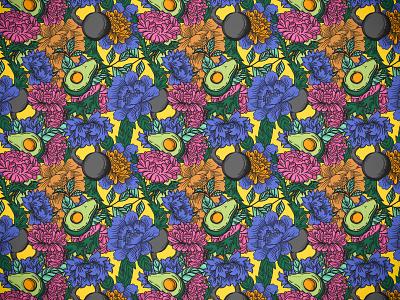 Avocados, Peonies and Kettlebells illustrator pattern seamless pattern repeating pattern illustration pattern design procreate peonies kettlebell avocado