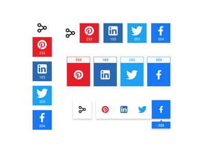 Social Media Components button share button share social media social web app ux minimal ui
