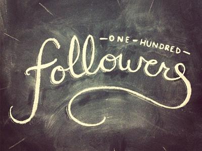 One Hundred Followers followers instagram chalkboard chalk typography custom script photo one hundred hand rendered