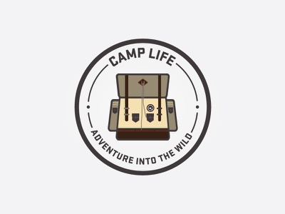 Camp Life Icon/Patch camp life camping path icon backpack adventure vector seal florida harbrco