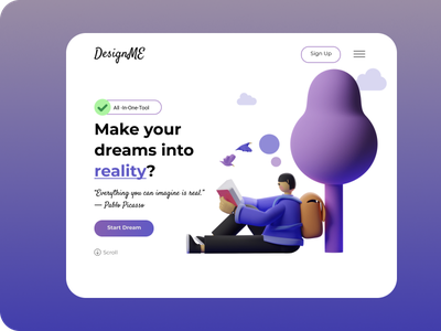 DesignMe Landing Page web flat app branding illustration typography ux ui minimal website design
