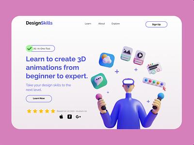 Design-Skills Landing Page ux illustration app web typography branding ui website minimal design