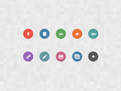 Post Format Icons [FREE] icons free psd audio video sticky pin quote link edit status image gallery