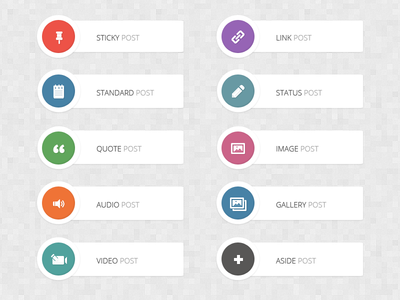 Retina Post Format Icons [FREE] icons free psd audio video sticky pin quote link edit status image gallery retina