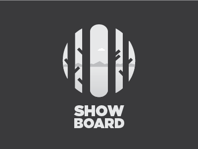 ShowBoard snowboard snow board mountains negative space spotlight show trees
