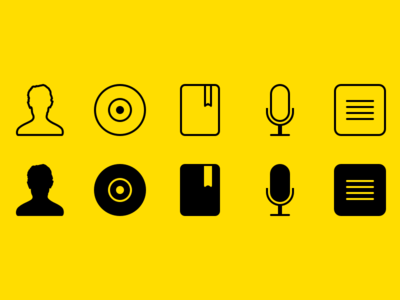 Media Type Icons flat playlists podcasts audiobooks albums artists icons