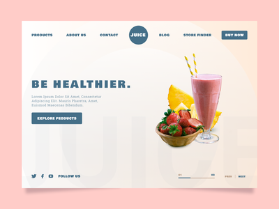 Fruit Juice - Web UI Design. fruit creativity e-commerce daily landing homepage landing page minimal typography ux ui web website web design juice strawberry