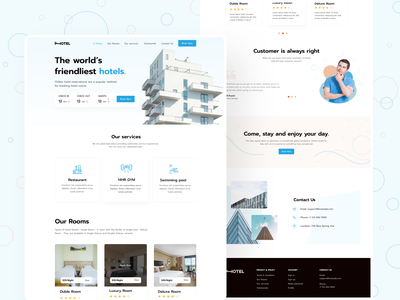 Hotel Booking landing page dashboard product hotel app landing creative clean typography minimal ui homepage ux booking hotels landingpage design website webdesign booking system real estate