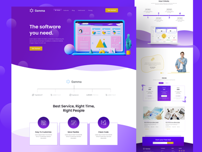 SaaS:Landing Page saas illustrations ui design tracker clean ux ui platform features feature feature page landing page landing saas landing dashboard landing playful modern webdesign website web