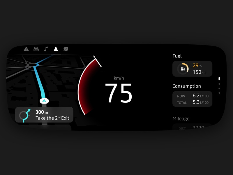 Car cluster⎢Redesign concept ux minimalist electronic instrument cluster dashboard concept renault interface design process uidesign flat redesign ui cluster car