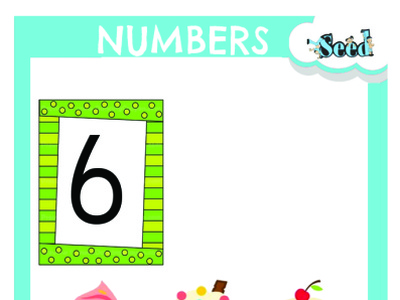 Number Card flash card storybook illustration design cover page