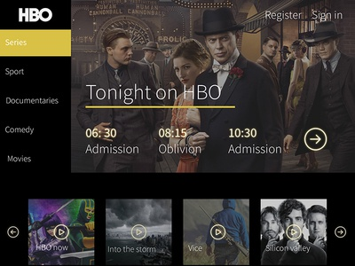 Redesign Concept for HBO web site (unofficial)